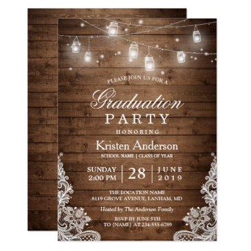 rustic wood lace string lights graduation party