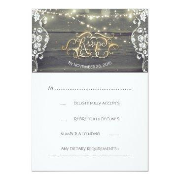 Small Rustic Wood Lace String Lights Wedding Rsvp Invitationss Front View