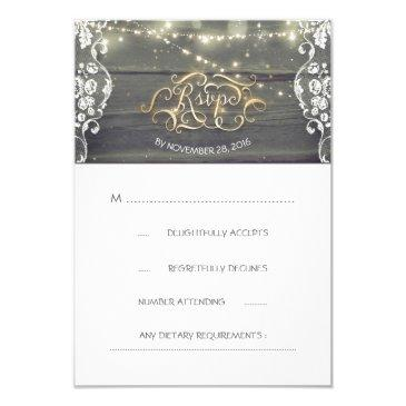 rustic wood lace string lights wedding rsvp