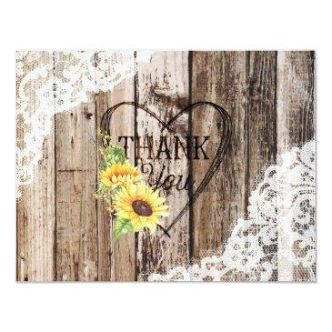rustic wood lace sunflower heart etching thank you