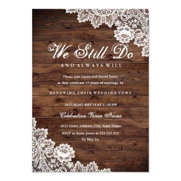 rustic wood lace vow renewal anniversary invitation