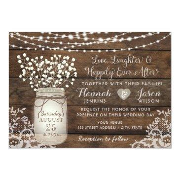 Small Rustic Wood Lace Wedding Invitation, Mason Jar Front View