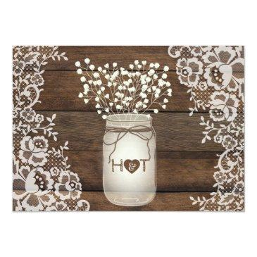 Small Rustic Wood Lace Wedding Invitation, Mason Jar Back View