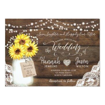 Small Rustic Wood Lace Wedding Invitations, Sunflower Jar Invitationss Front View