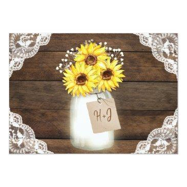 Small Rustic Wood Lace Wedding Invitations, Sunflower Jar Invitationss Back View