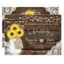rustic wood lace wedding invitations, sunflower jar invitations