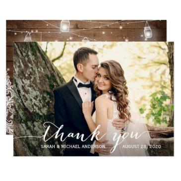 rustic wood mason jar lace wedding photo thank you