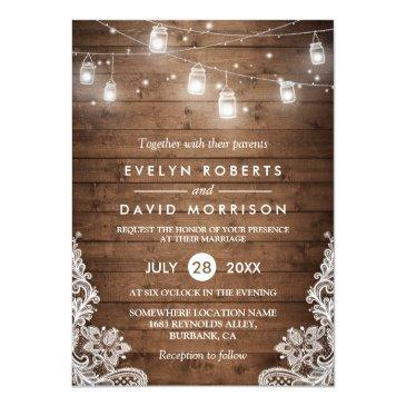 Small Rustic Wood Mason Jars String Lights Lace Wedding Invitations Front View