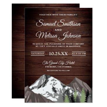 rustic wood mountain forest wedding invitation
