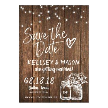 rustic wood save the date with mason jars & lights