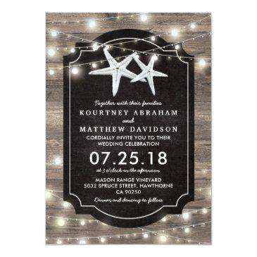 Small Rustic Wood Starfish Wedding | String Of Lights Front View