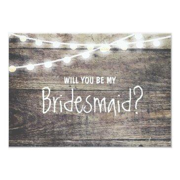 rustic wood string light will you be my bridesmaid invitations