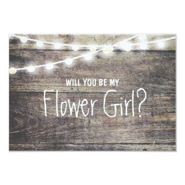 rustic wood string light will you be my flowergirl
