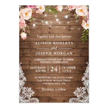 Small Rustic Wood String Lights Lace Floral Farm Wedding Invitationss Front View