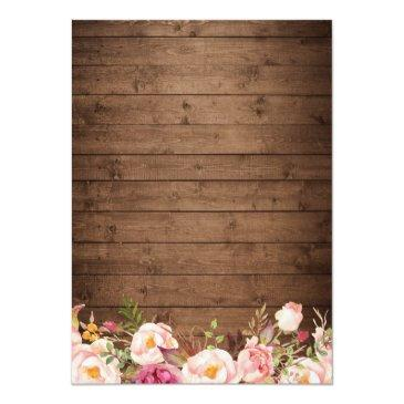 Small Rustic Wood String Lights Lace Floral Farm Wedding Invitationss Back View