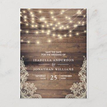 rustic wood & string lights | lace save the date announcement post