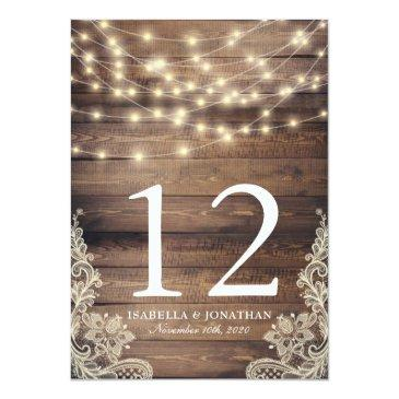 Small Rustic Wood & String Lights | Lace Table Number Back View