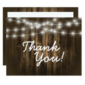 rustic wood string lights thank you note