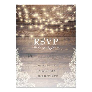 rustic wood & string lights | vintage lace rsvp