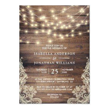 Small Rustic Wood & String Lights | Vintage Lace Wedding Front View