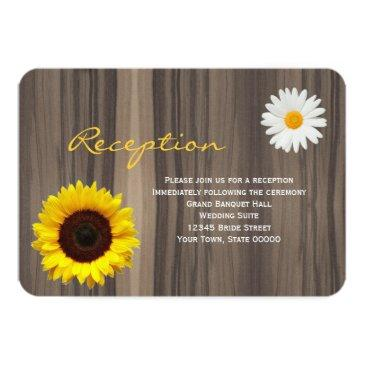 rustic wood sunflower & daisy reception info