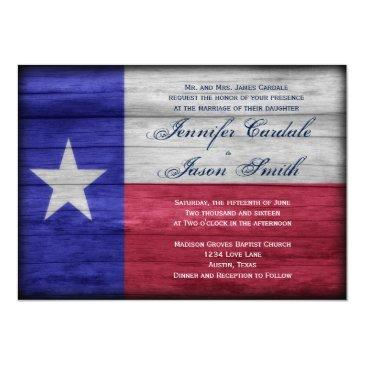 rustic wood texas flag wedding invitationss