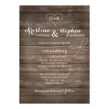 Small Rustic Wood Tie The Knot Wedding Invitations Front View