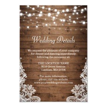 rustic wood twinkle lights lace wedding details