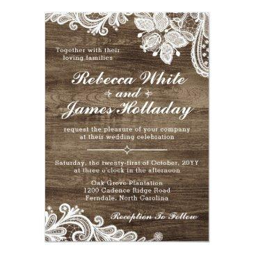 Small Rustic Wood & Vintage Lace Wedding Invitation Front View