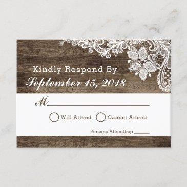 rustic wood & vintage lace wedding  rsvp