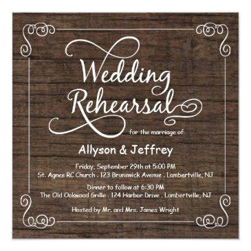 rustic wood wedding rehearsal dinner invitation