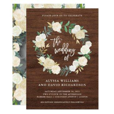 rustic wood | wreath wedding with photo back invitation