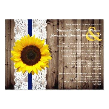 Small Rustic Wooden And Lace With Sunflower Wedding Invitationss Front View