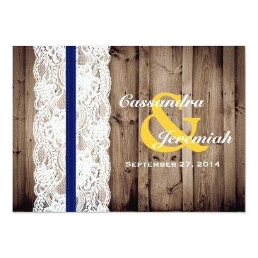 Small Rustic Wooden And Lace With Sunflower Wedding Invitationss Back View