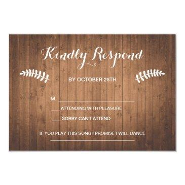 rustic woodgrain forest wedding rsvp