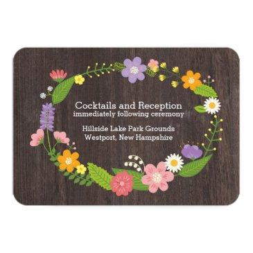 Small Rustic Woodland Bohemian Floral Wreath Wedding Invitation Front View