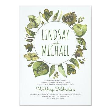 Small Rustic Woodland Greenery Modern Wedding Invitation Front View