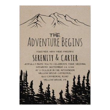 Small Rustic Woodsy Mountain Adventure Begins Wedding Invitationss Front View