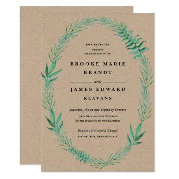 rustic wreath greenery wedding invitations