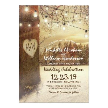 Small Rustic Xmas Winter Tree Twinkle Lights Wedding Invitation Front View