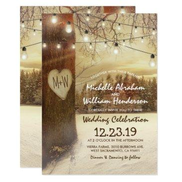 rustic xmas winter tree twinkle lights wedding invitations