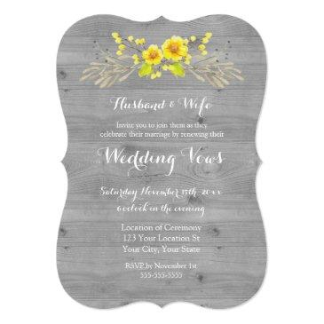 rustic yellow floral wood vow renewal