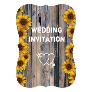 rustic yellow sunflower country floral wedding invitations