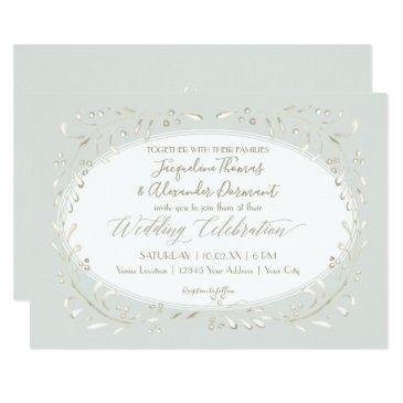 sage mint simple leaf typography modern watercolor invitations