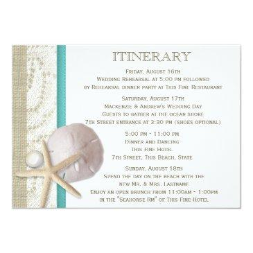 Small Sand Dollar Lace And Pearl Invitationss Front View