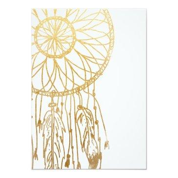 Small Save The Date Bohemian Dreamcatcher Faux Gold Foil Invitationss Back View