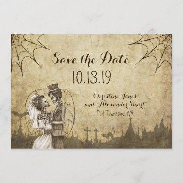 save the date for halloween wedding with skeletons