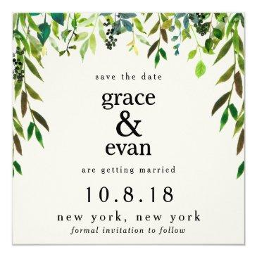 save the date green floral leaf olive wreath