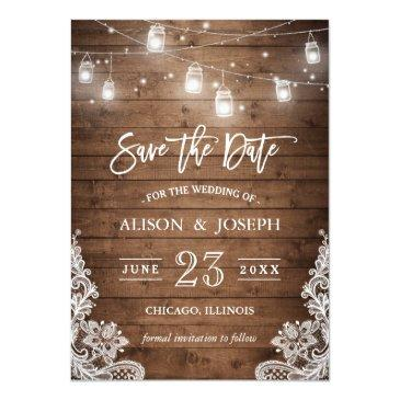 Small Save The Date Mason Jars Lights Rustic Wood Lace Invitationss Front View