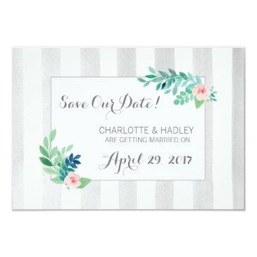 save the date modern stripes & bohemian floral